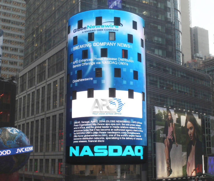 APO's logo and abstract of the press release announcing the agreement has been showcased on the NASDAQ tower at the Times Square in New York City